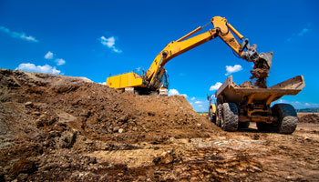 industrial excavator laoding soil material construction heavy machinery